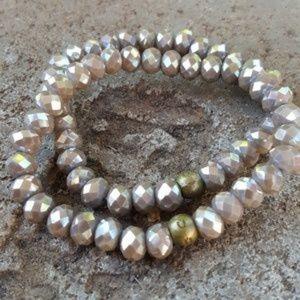 Faceted Crystal Brass Stacking Bracelets